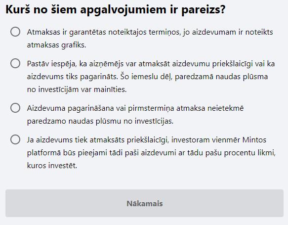 zināšanas par investīcijām aptauja